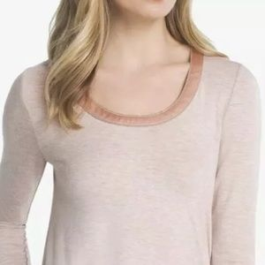 White House Black Market Tops - WHBM Pink Ball Chain Long Sleeve Tee Shirt Top